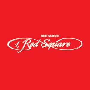 1 Red Square Restaurant Logo Vector