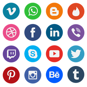20 Flat Social Media Icons Logo Vector