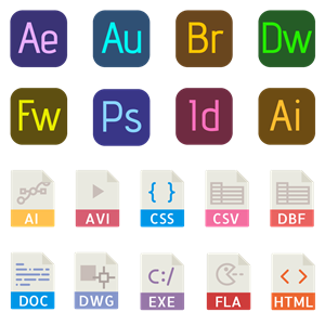 40 File types color icons Logo Vector