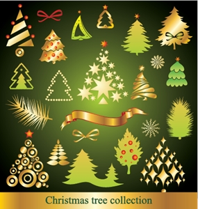 a variety cartoon christmas tree Logo Vector