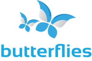 Abstract Butterflies in Blue and Grey Logo Vector
