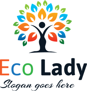 Abstract Eco Lady Logo Vector
