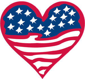American Flag Heart Logo Vector
