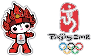 Beijing 2008 Olympic emblem and mascot Logo Vector