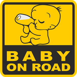 Baby on Road Logo Vector