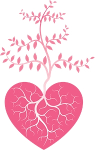 beautiful branch heart valentine Logo Vector