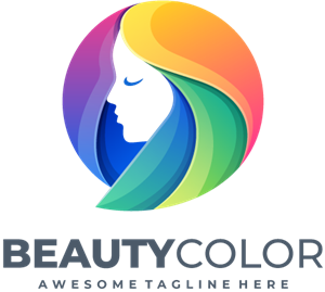 Beauty girl head colorful color Logo Vector