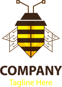 Bee shape Logo Vector