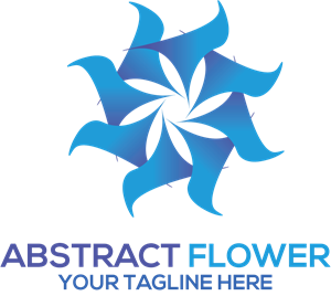Blue Abstract Flower Logo Vector