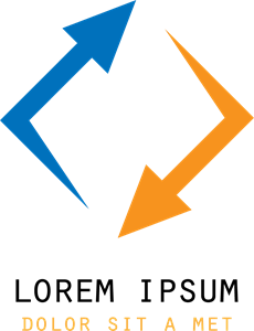 Blue and Orange Arrow Shape Logo Vector
