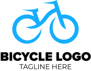 Blue Bicycle Logo Vector