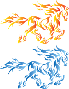 Blue fire horse Logo Vector
