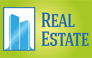 Blue Frame Real Estate Logo Vector