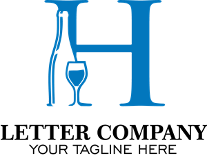 Blue H Letter Company Logo Vector