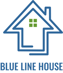 Blue Line House Logo Vector