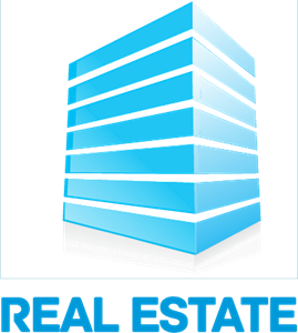 Blue Real Estate 2D Building Logo Vector