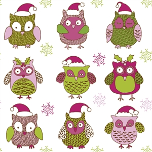 cartoon christmas owl pattern Logo Vector
