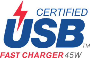 Certified USB Fast Charger 45W Logo Vector