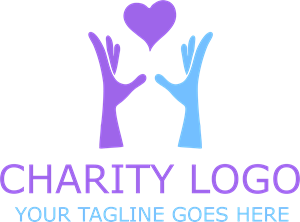 Charity Heart Hands Logo Vector