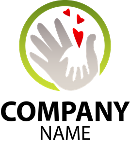 Child and Human Hand Silhouette Logo Vector