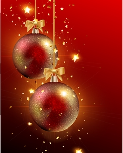 christmas balls red background Logo Vector