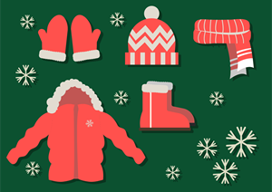christmas elements red clothing icons Logo Vector