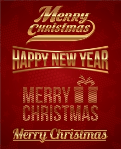 christmas new year beautiful typography poster Logo Vector