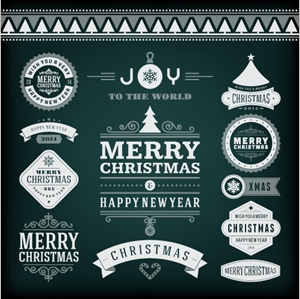 christmas set vintage labels Logo Vector