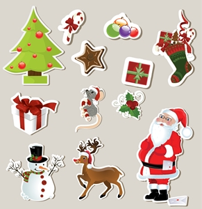 christmas stickers element Logo Vector