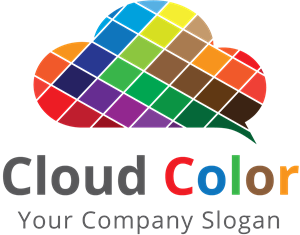 cloud made with colorful squares Logo Vector