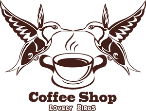 Coffee Shop Lovely Birds Logo Vector