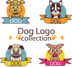 Colored dog collection Logo Vector