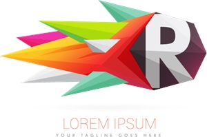 Colorful abstract with letter R Logo Vector