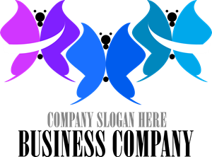 Colorful Butterflies Logo Vector