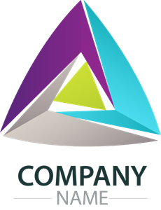 colorful circular edge triangle company Logo Vector