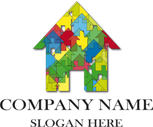 Colorful Puzzle House Logo Vector