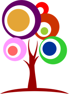 Colour Circle Tree Logo Vector