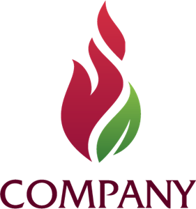 Company Leaf and Flames Logo Vector