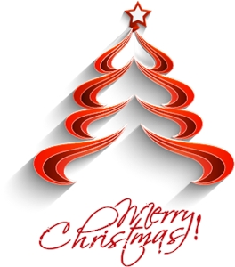 cute red merry christmas tree Logo Vector