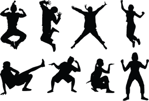 Dance Pose Silhouettes Logo Vector