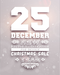 december christmas calligrahpic poster Logo Vector
