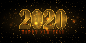 Decorative Happy New Year background 2020 Logo Vector