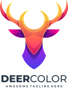 Deer abstract colorful with grid Logo Vector