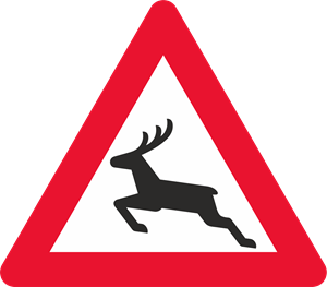 DEER CROSSING ROAD SIGN Logo Vector