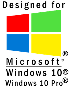 Designed by Microsoft Windows 10 and Pro Logo Vector
