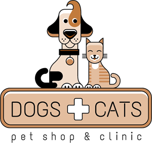 Dog and cat with pet shop and clinic Logo Vector