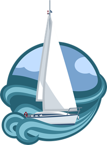 Elegant boat sailing in the sea Logo Vector
