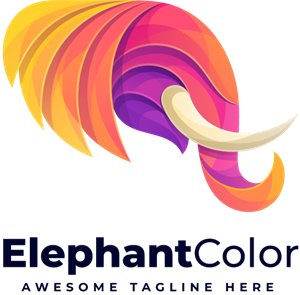 Elephant head colorful gradient Logo Vector