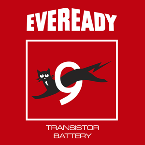 Eveready Antiguo fondo rojo Logo Vector