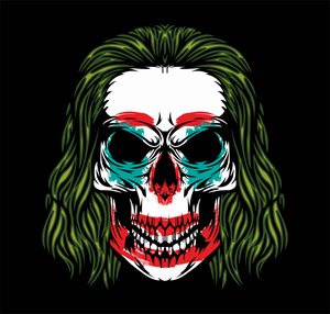 Evil Joker Clown Skull Logo Vector